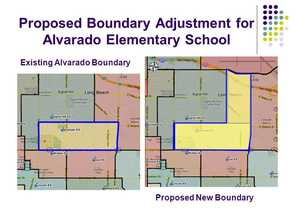 Proposed Boundary Adjustment for Alvarado Elementary School Existing Alvarado Boundary Proposed New Boundary