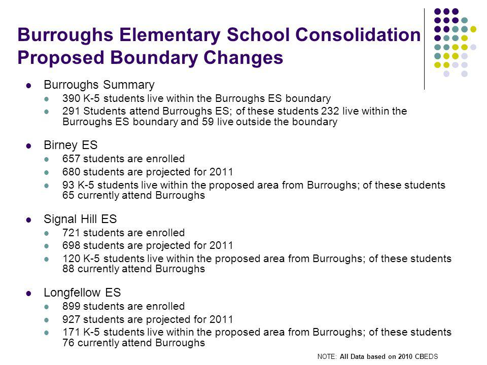 Burroughs Elementary School Consolidation Proposed Boundary Changes Burroughs Summary 390 K-5 students live within the Burroughs ES boundary 291 Students attend Burroughs ES; of these students 232 live within the Burroughs ES boundary and 59 live outside the boundary Birney ES 657 students are enrolled 680 students are projected for 2011 93 K-5 students live within the proposed area from Burroughs; of these students 65 currently attend Burroughs Signal Hill ES 721 students are enrolled 698 students are projected for 2011 120 K-5 students live within the proposed area from Burroughs; of these students 88 currently attend Burroughs Longfellow ES 899 students are enrolled 927 students are projected for 2011 171 K-5 students live within the proposed area from Burroughs; of these students 76 currently attend Burroughs NOTE: All Data based on 2010 CBEDS