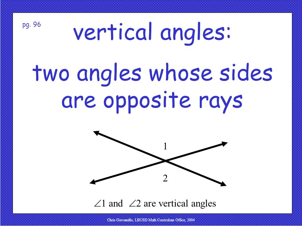 Chris Giovanello, LBUSD Math Curriculum Office, 2004 vertical angles