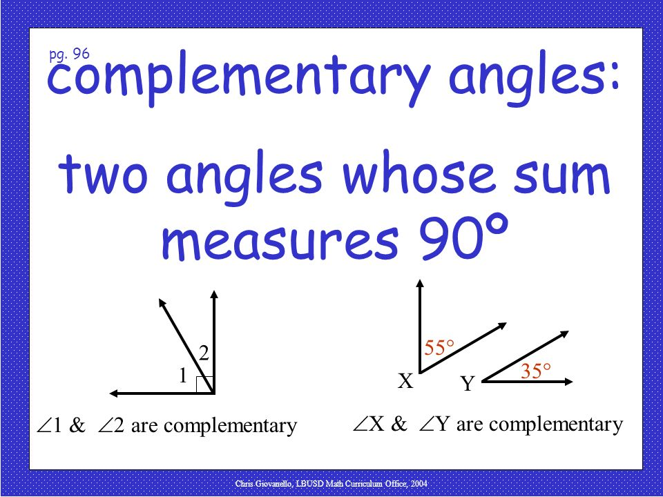 Chris Giovanello, LBUSD Math Curriculum Office, 2004 complementary angles