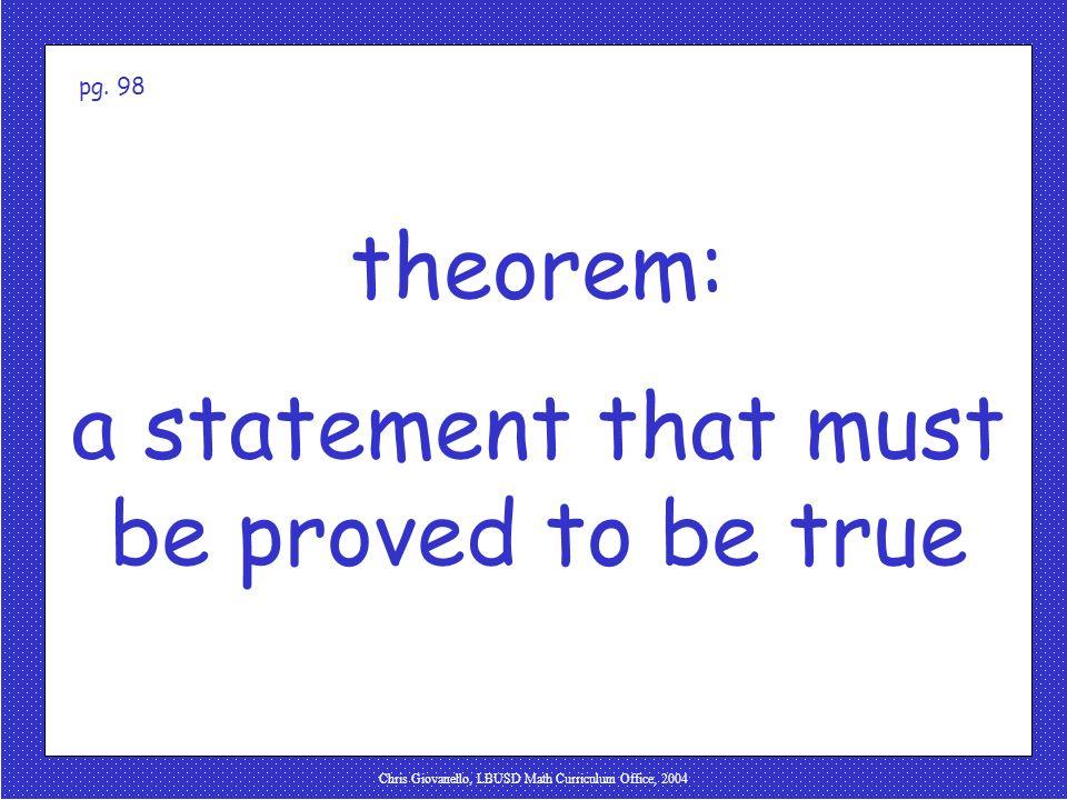 Chris Giovanello, LBUSD Math Curriculum Office, 2004 theorem