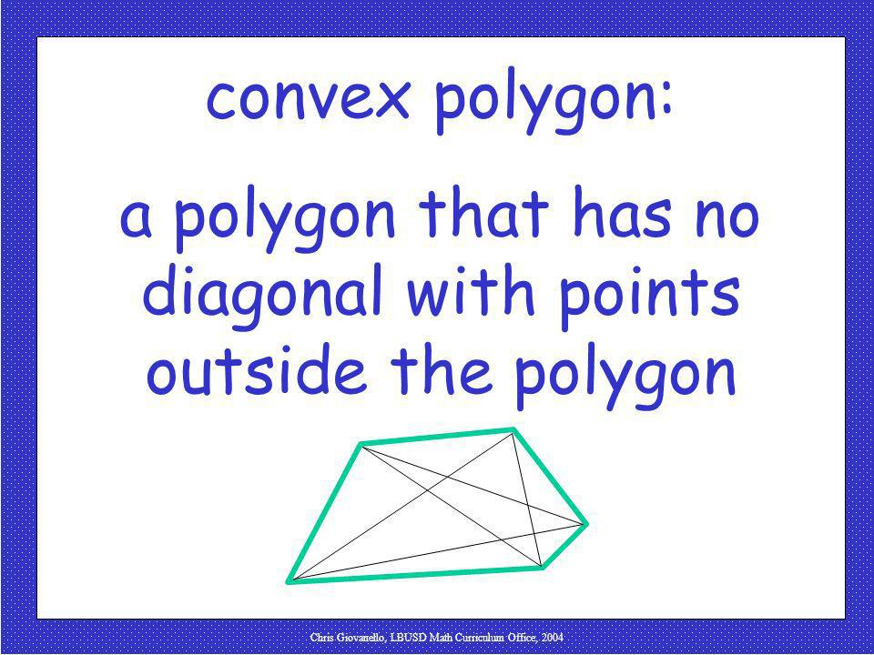 Chris Giovanello, LBUSD Math Curriculum Office, 2004 convex polygon