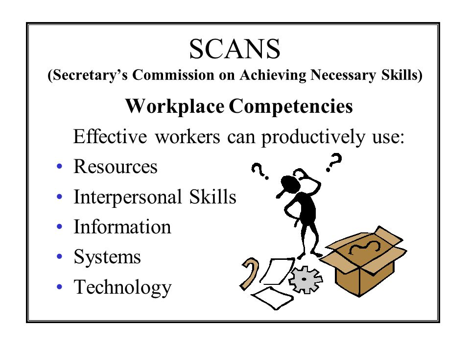 SCANS (Secretarys Commission on Achieving Necessary Skills) Workplace Competencies Effective workers can productively use: Resources Interpersonal Ski