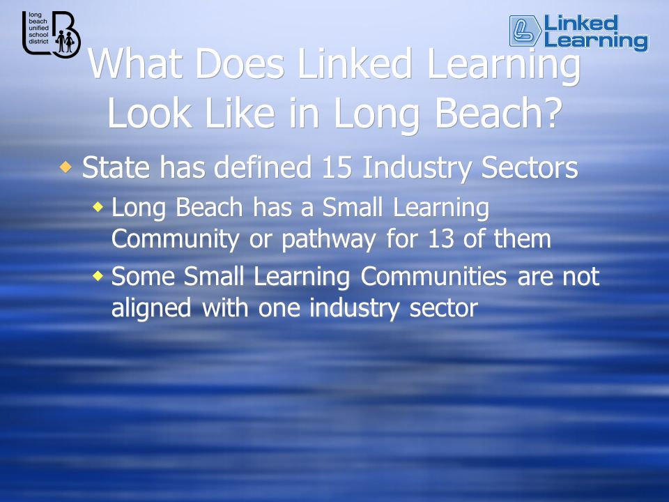 What Does Linked Learning Look Like in Long Beach? State has defined 15 Industry Sectors Long Beach has a Small Learning Community or pathway for 13 o