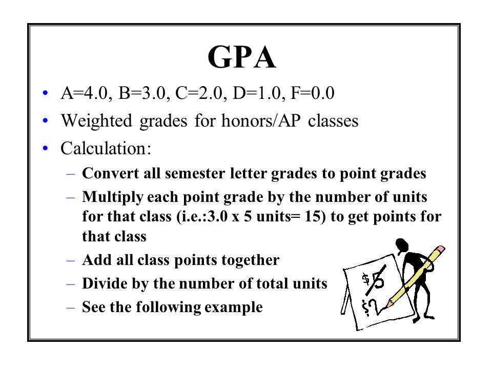 Semester grades English(5 units)= A 4.0 x 5 units=20 class points History(5 units)=B3.0 x 5 units=15 class points Biology(5 units)=B3.0 x 5 units=15 class points Algebra(5 units)=C2.0 x 5 units=10 class points Spanish (5 units)=C2.0 x 5 units=10 class points 25 units 60 total points 60 total semester points divided by 25 units = 2.4 GPA