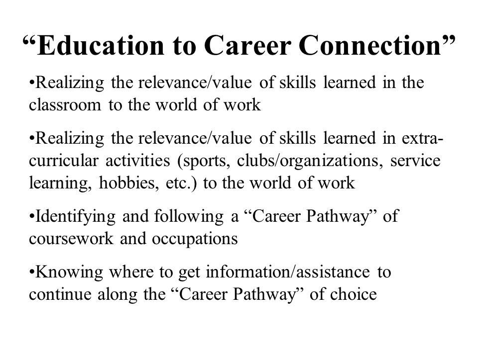 Education to Career Connection What does it mean (Brainstorm)
