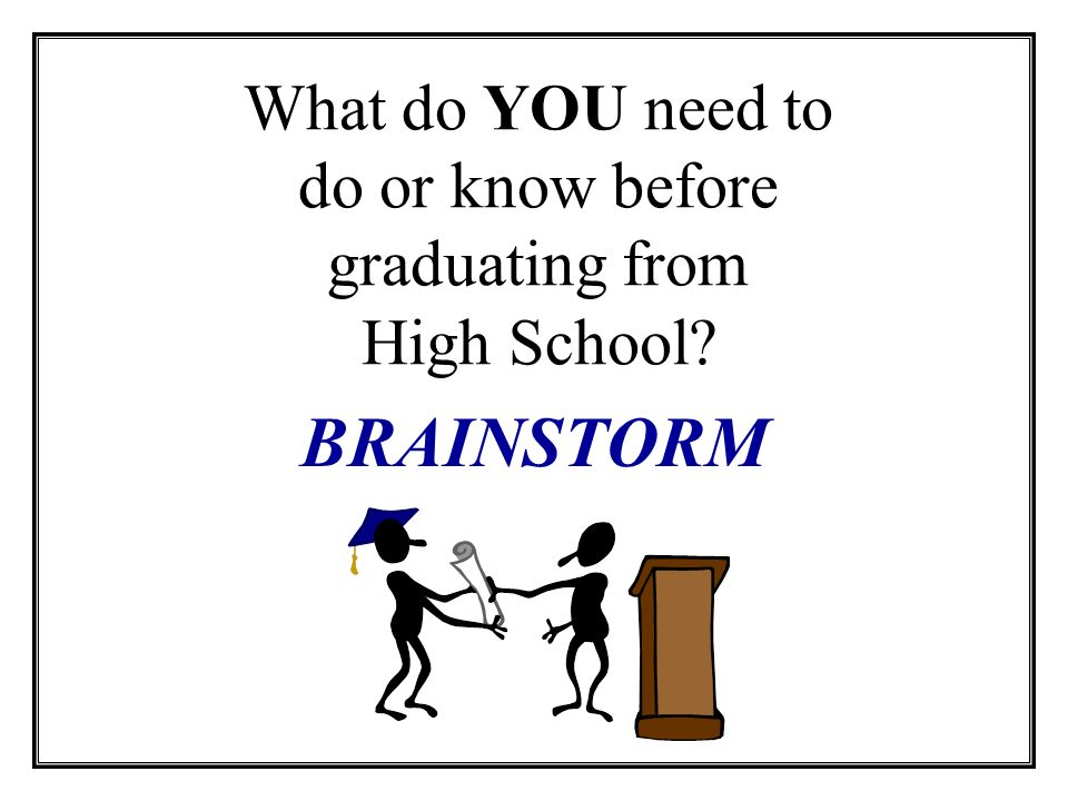 What do YOU need to do or know before graduating from High School BRAINSTORM