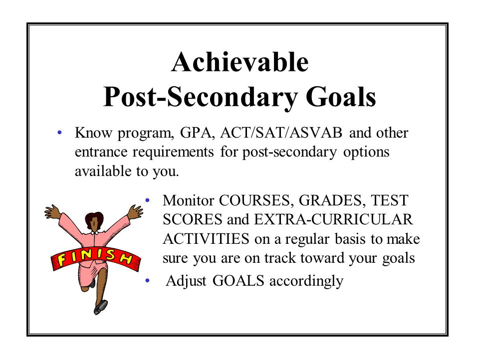 Effective Test-Taking Strategies (SAT/ACT/ASVAB) BE AWARE of testing DATES and registration DEADLINES GO to www.collegeboard.com for SATs GO to www.act.org for ACT GO to www.military.com for ASVAB SET goals for test scores DETERMINE and KEEP a study/practice schedule