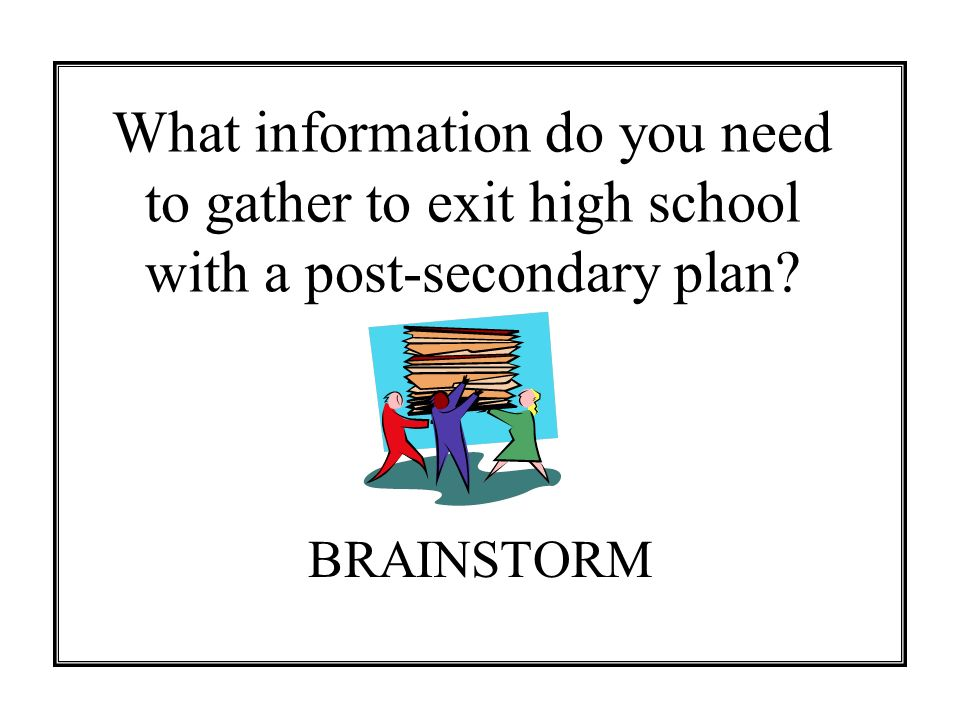 What information do you need to gather to exit high school with a post-secondary plan? BRAINSTORM