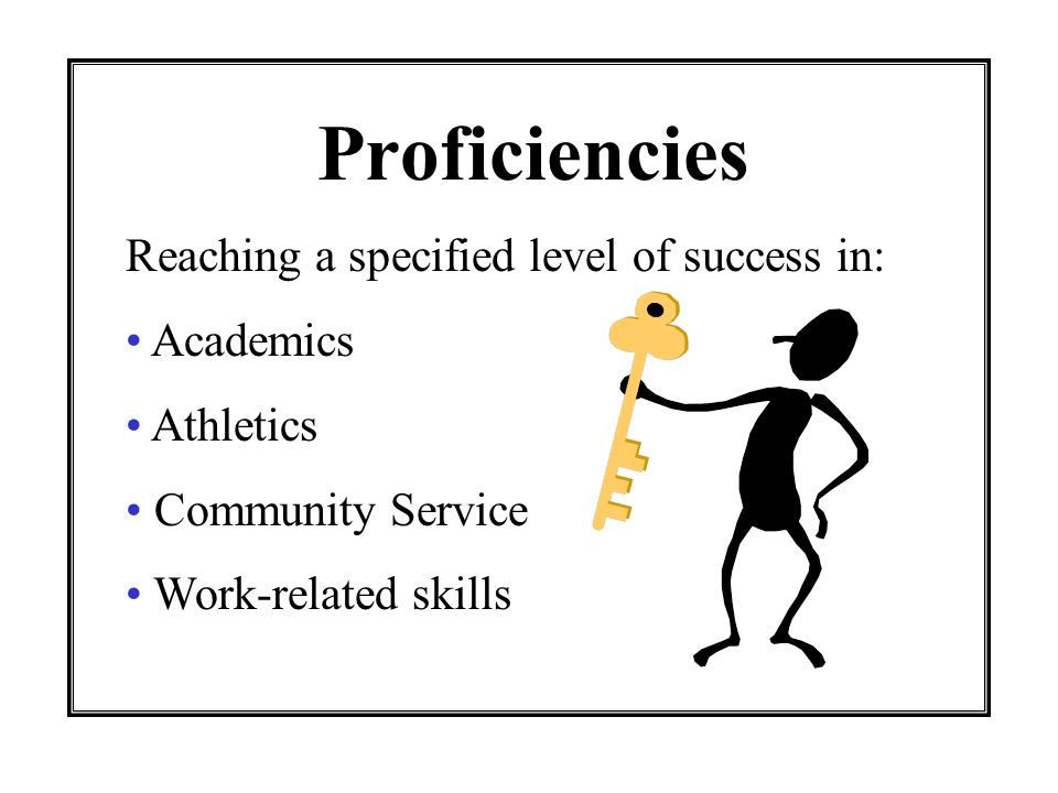 Proficiencies Reaching a specified level of success in: Academics Athletics Community Service Work-related skills