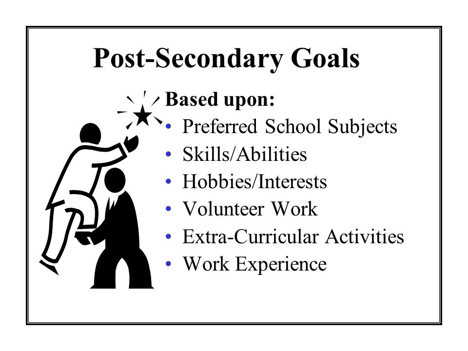 Post-Secondary Goals Based upon: Preferred School Subjects Skills/Abilities Hobbies/Interests Volunteer Work Extra-Curricular Activities Work Experience