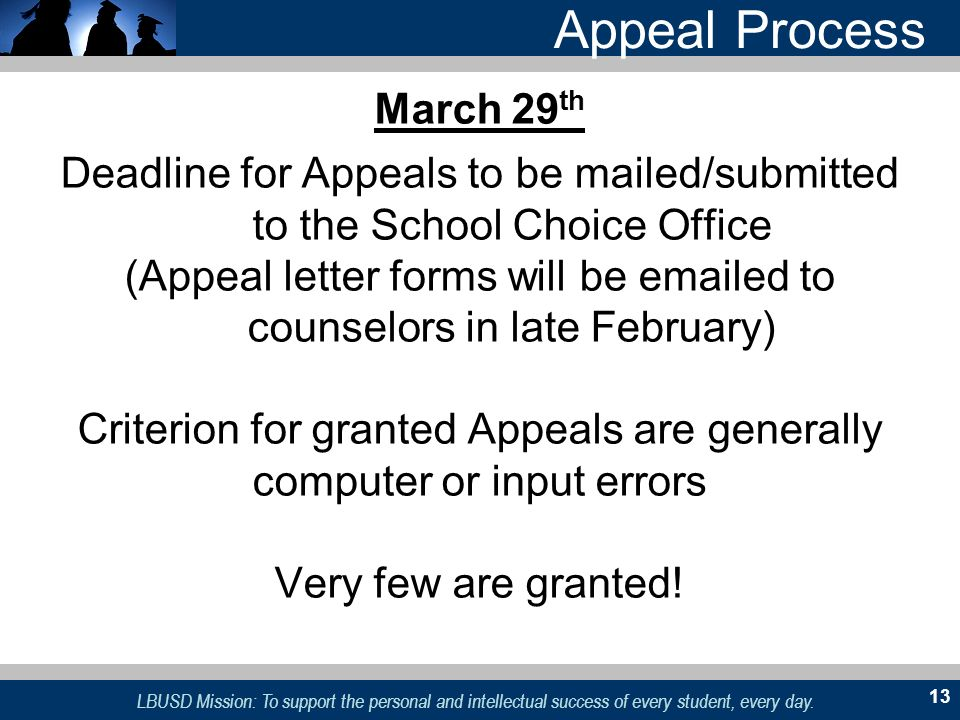 LBUSD Mission: To support the personal and intellectual success of every student, every day. 13 Appeal Process March 29 th Deadline for Appeals to be