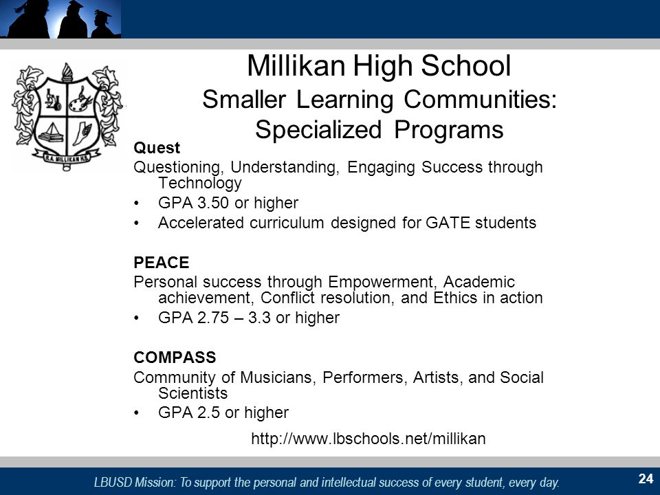 LBUSD Mission: To support the personal and intellectual success of every student, every day. 24 Millikan High School Smaller Learning Communities: Spe