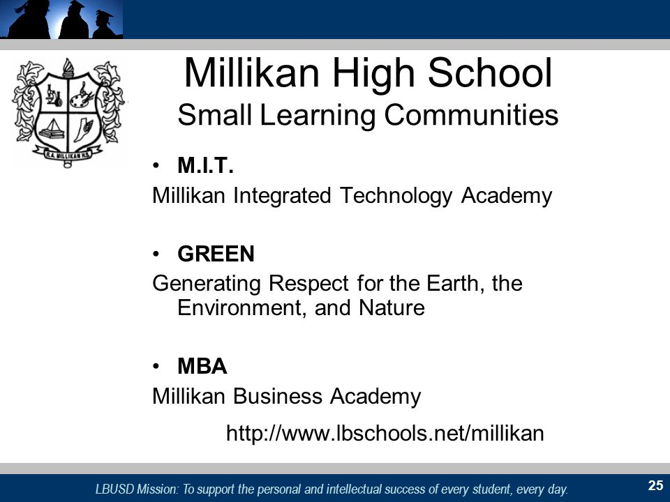 LBUSD Mission: To support the personal and intellectual success of every student, every day. 25 Millikan High School Small Learning Communities M.I.T.