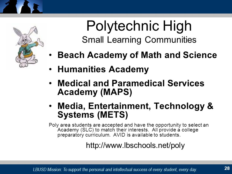 LBUSD Mission: To support the personal and intellectual success of every student, every day. 28 Polytechnic High Small Learning Communities Beach Acad