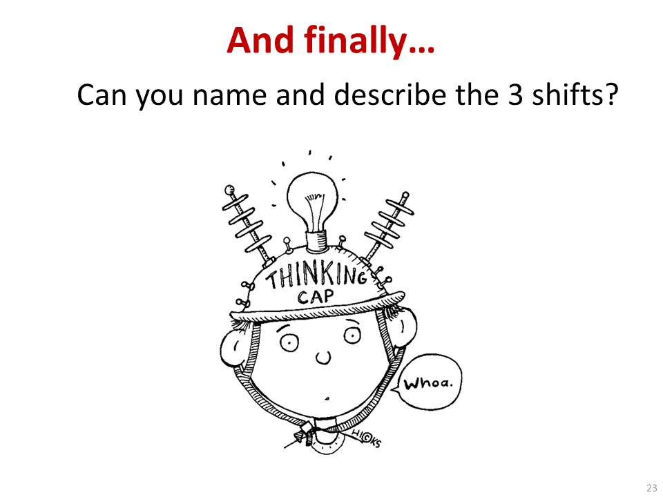And finally… Can you name and describe the 3 shifts? 23