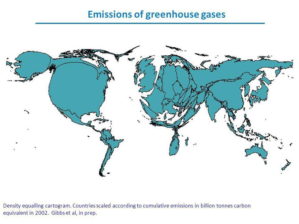 Emissions of greenhouse gases Density equalling cartogram. Countries scaled according to cumulative emissions in billion tonnes carbon equivalent in 2
