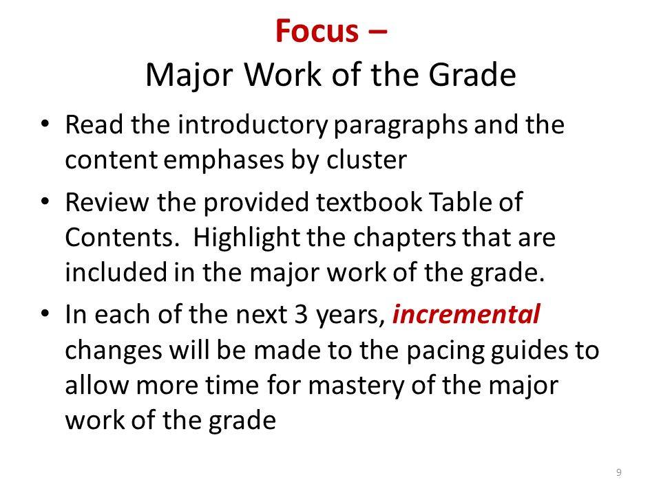 Focus – Major Work of the Grade Read the introductory paragraphs and the content emphases by cluster Review the provided textbook Table of Contents.