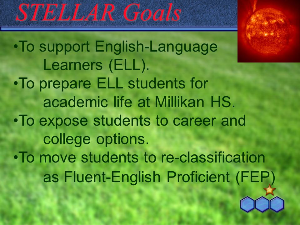 STELLAR Goals To support English-Language Learners (ELL). To prepare ELL students for academic life at Millikan HS. To expose students to career and c