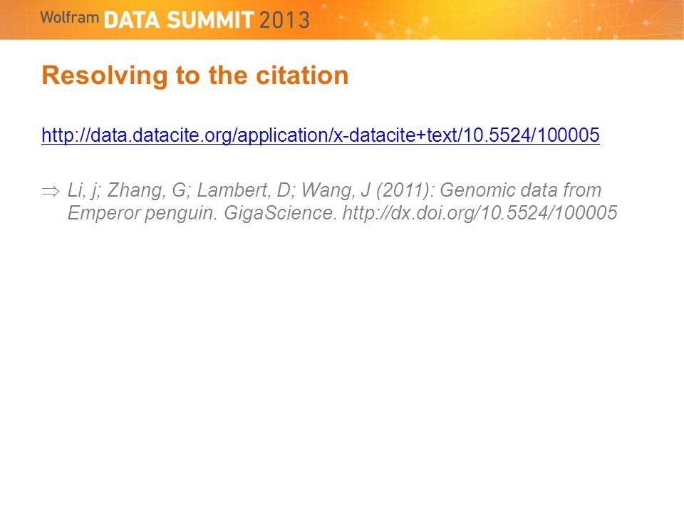 Resolving to the citation http://data.datacite.org/application/x-datacite+text/10.5524/100005 Li, j; Zhang, G; Lambert, D; Wang, J (2011): Genomic data from Emperor penguin.