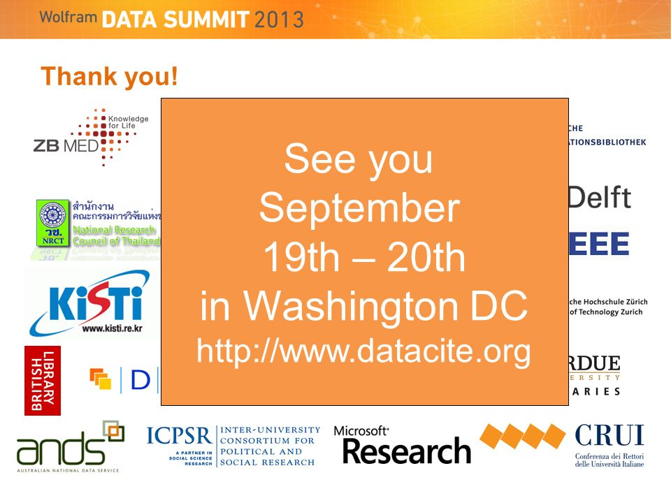 Thank you! See you September 19th – 20th in Washington DC http://www.datacite.org