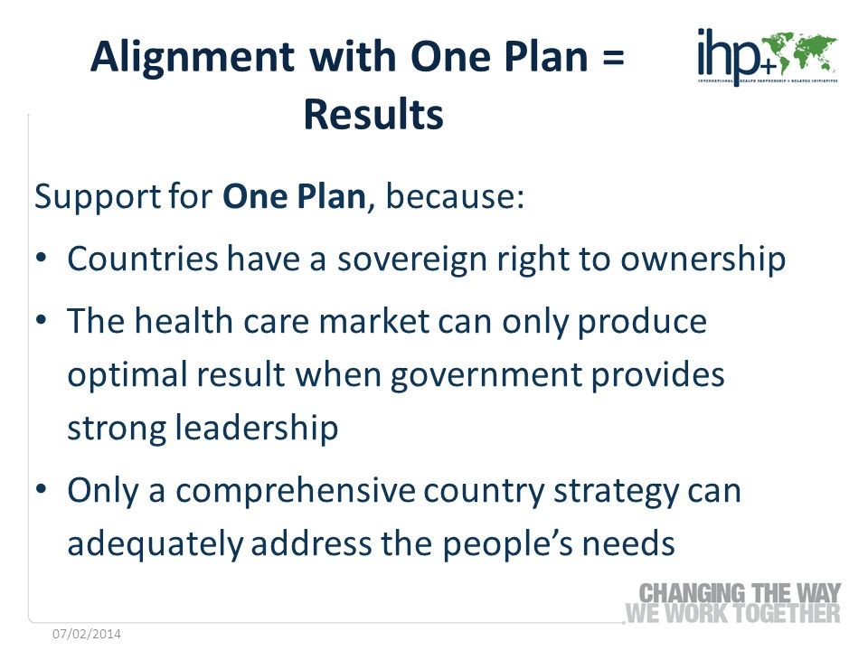 Support for One Plan, because: Countries have a sovereign right to ownership The health care market can only produce optimal result when government pr