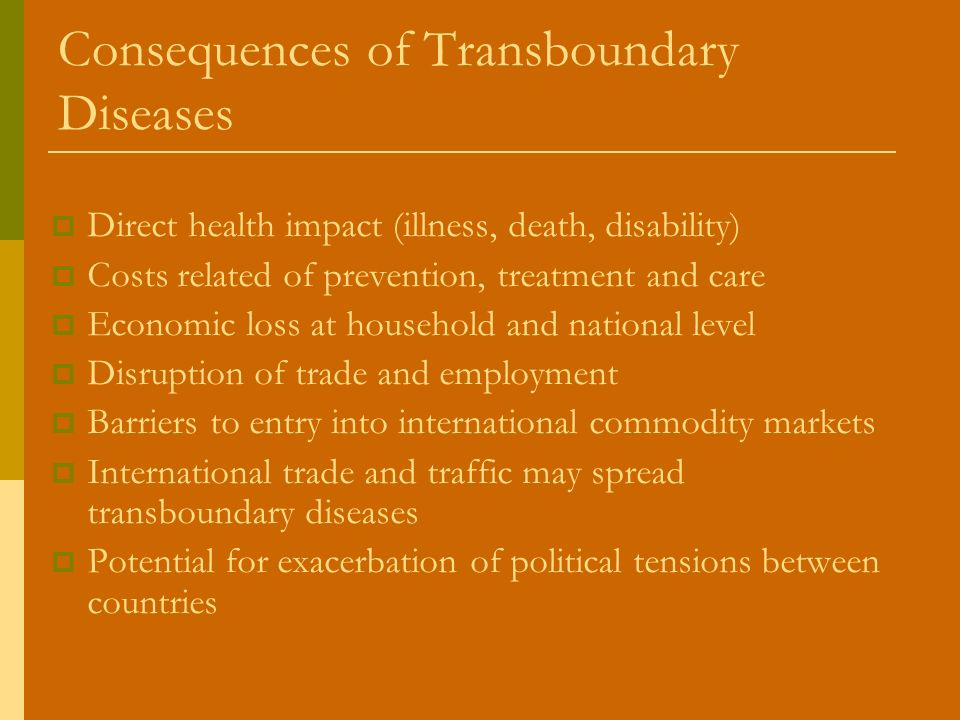 Consequences of Transboundary Diseases Direct health impact (illness, death, disability) Costs related of prevention, treatment and care Economic loss