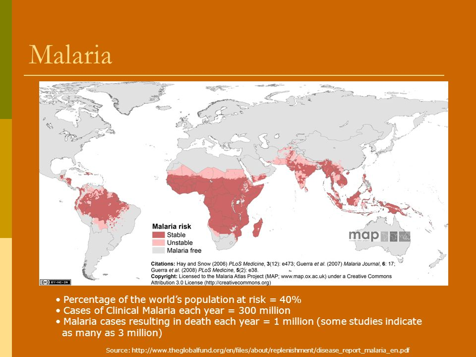 Malaria Percentage of the worlds population at risk = 40% Cases of Clinical Malaria each year = 300 million Malaria cases resulting in death each year = 1 million (some studies indicate as many as 3 million) Source: