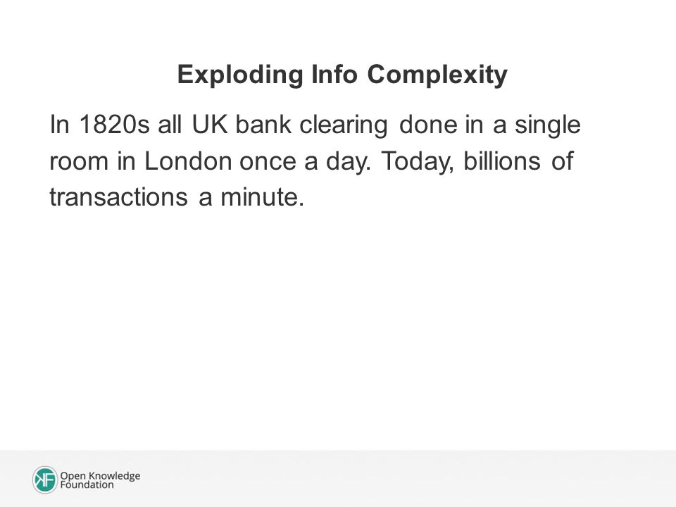 Exploding Info Complexity In 1820s all UK bank clearing done in a single room in London once a day.