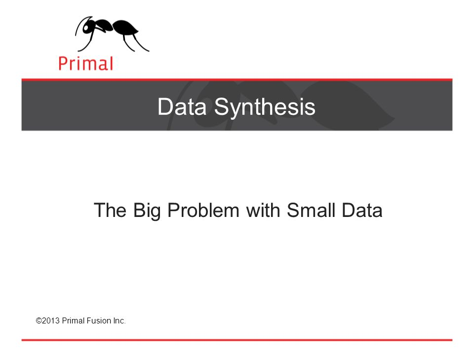 ©2013 Primal Fusion Inc. Data Synthesis The Big Problem with Small Data