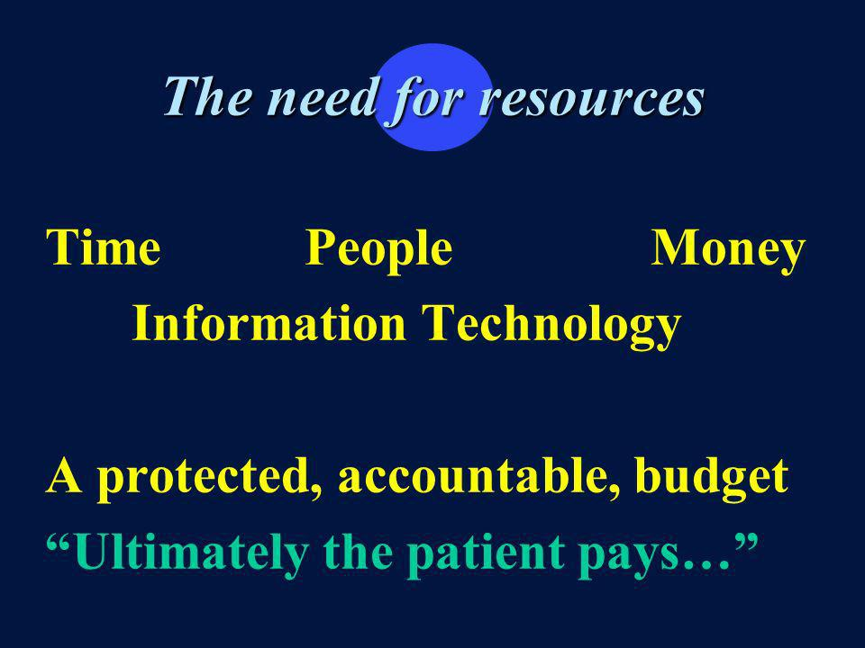 The need for resources TimePeopleMoney Information Technology A protected, accountable, budget Ultimately the patient pays…
