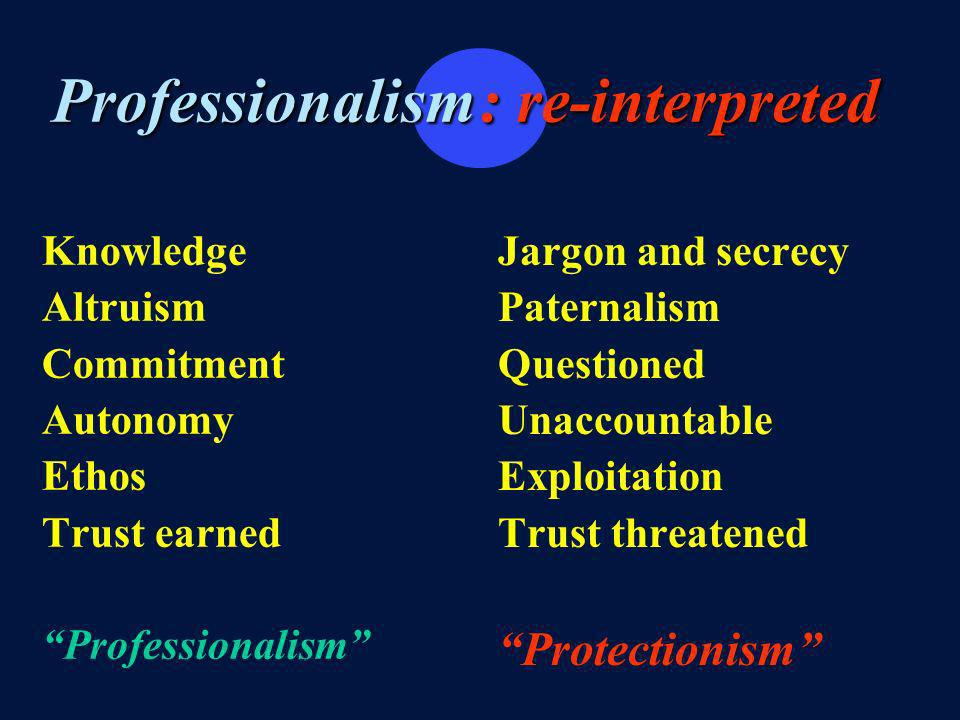 Professionalism Knowledge Altruism Commitment Autonomy Ethos Trust earned Professionalism Jargon and secrecy Paternalism Questioned Unaccountable Exploitation Trust threatened Protectionism : re-interpreted