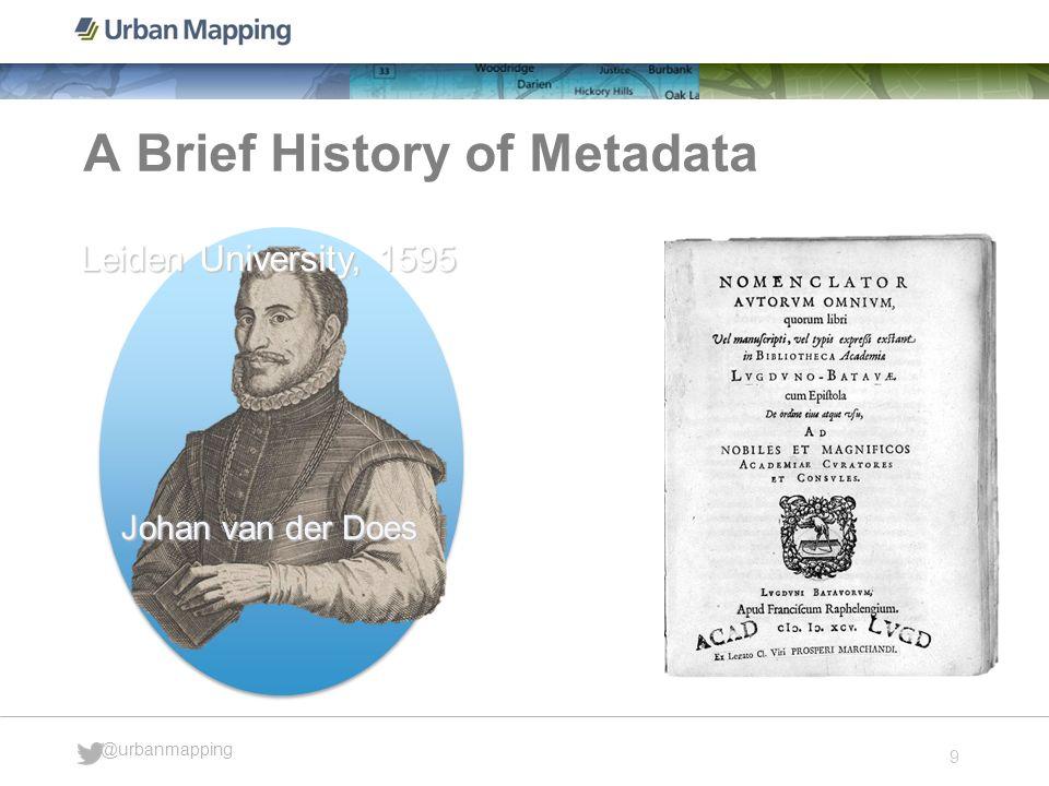 9 @urbanmapping A Brief History of Metadata Johan van der Does Leiden University, 1595