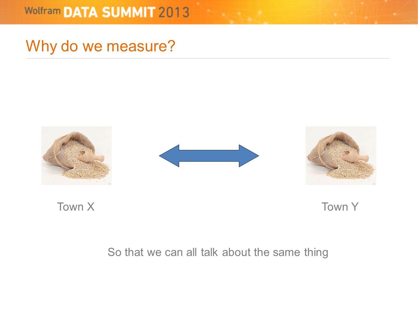 Why do we measure? Town XTown Y So that we can all talk about the same thing
