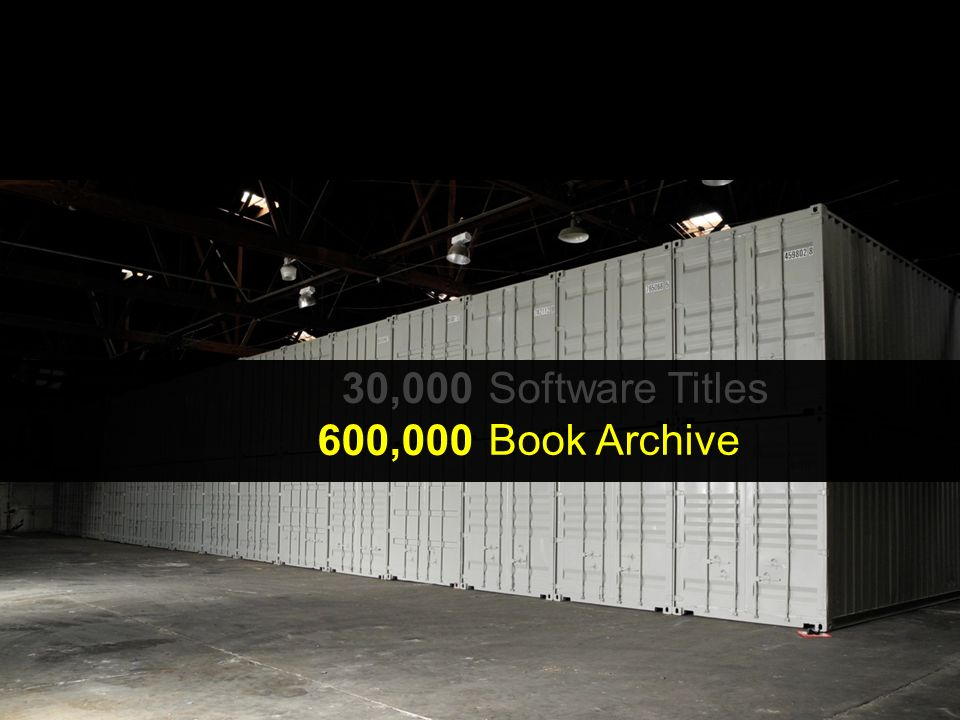 30,000 600,000 900,000 Software Titles Book Archive Moving Images