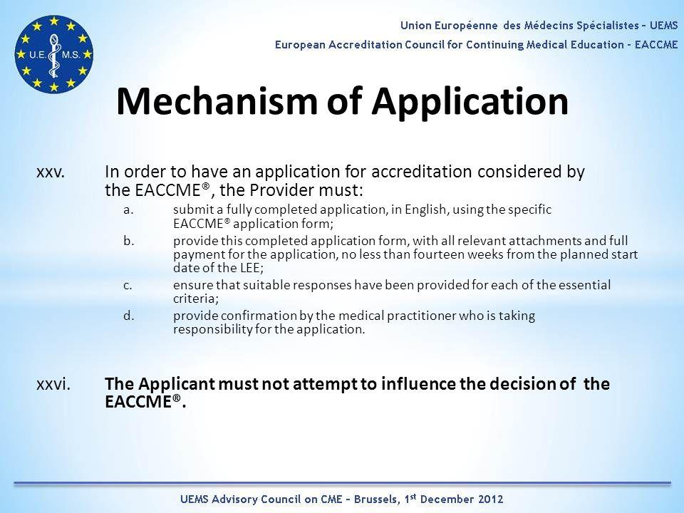 Mechanism of Application xxv.