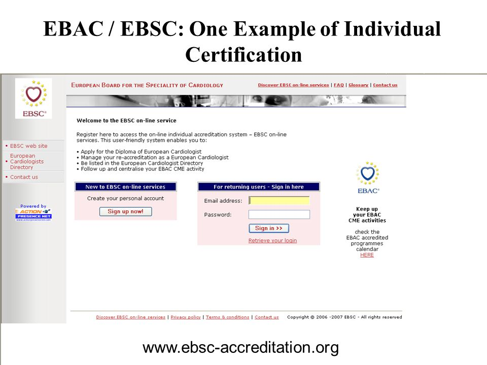 EBAC / EBSC: One Example of Individual Certification www.ebsc-accreditation.org