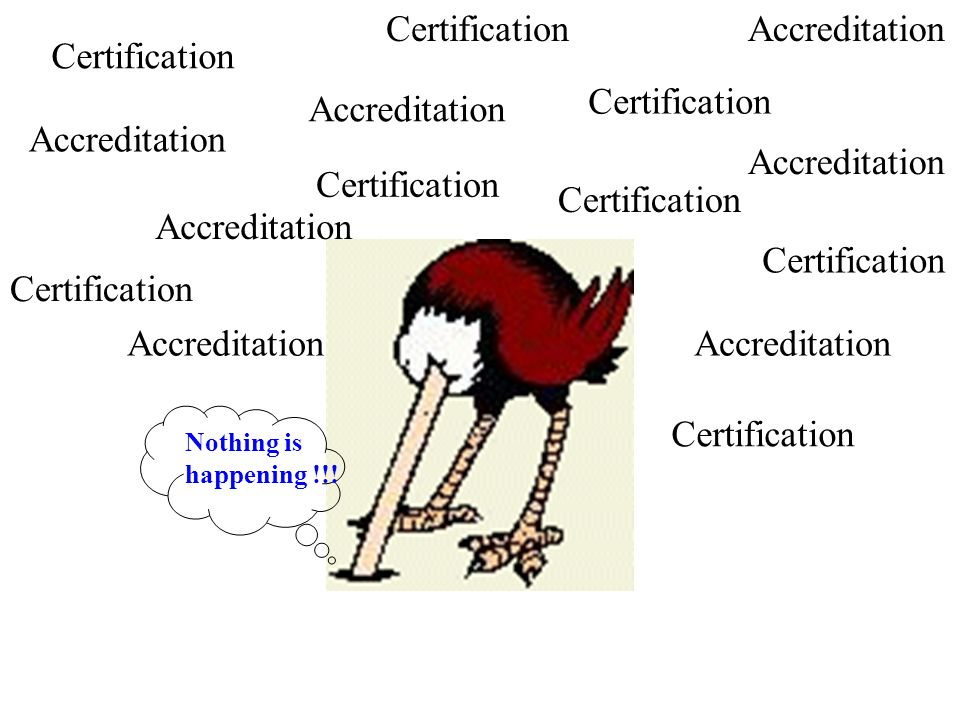 Nothing is happening !!! Accreditation Certification Accreditation