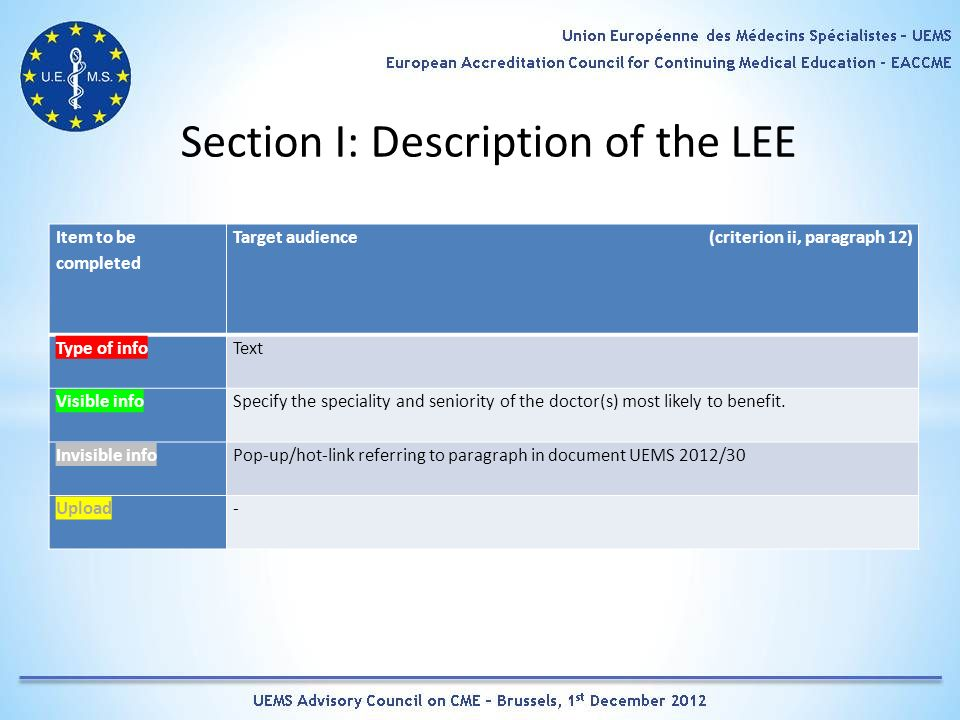 Section I: Description of the LEE Item to be completed Target audience (criterion ii, paragraph 12) Type of infoText Visible infoSpecify the speciality and seniority of the doctor(s) most likely to benefit.