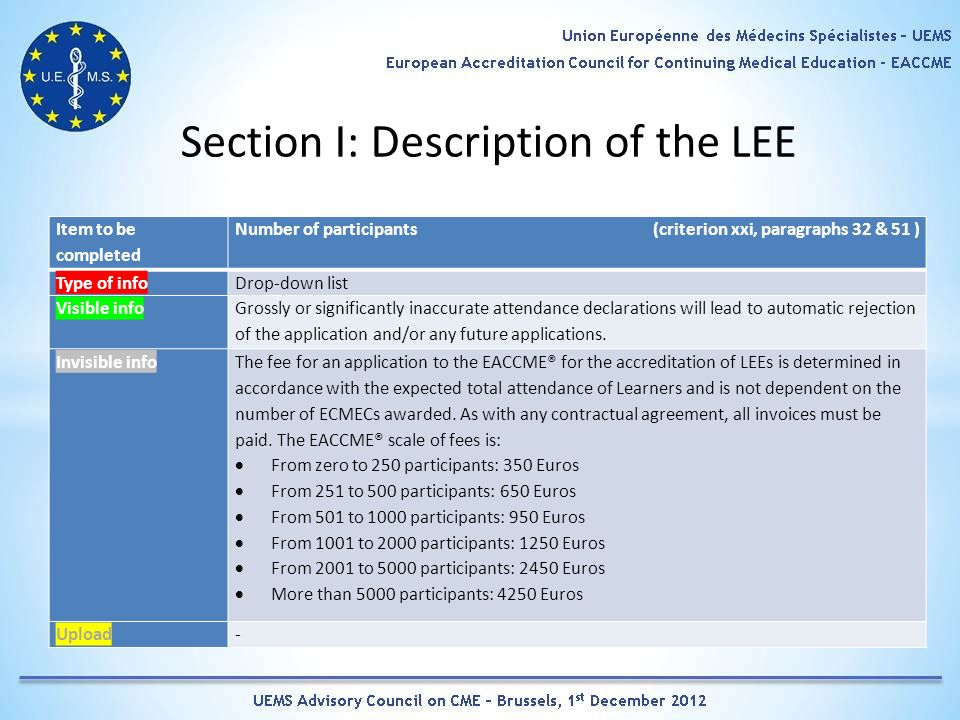 Section I: Description of the LEE Item to be completed Number of participants (criterion xxi, paragraphs 32 & 51 ) Type of infoDrop-down list Visible info Grossly or significantly inaccurate attendance declarations will lead to automatic rejection of the application and/or any future applications.