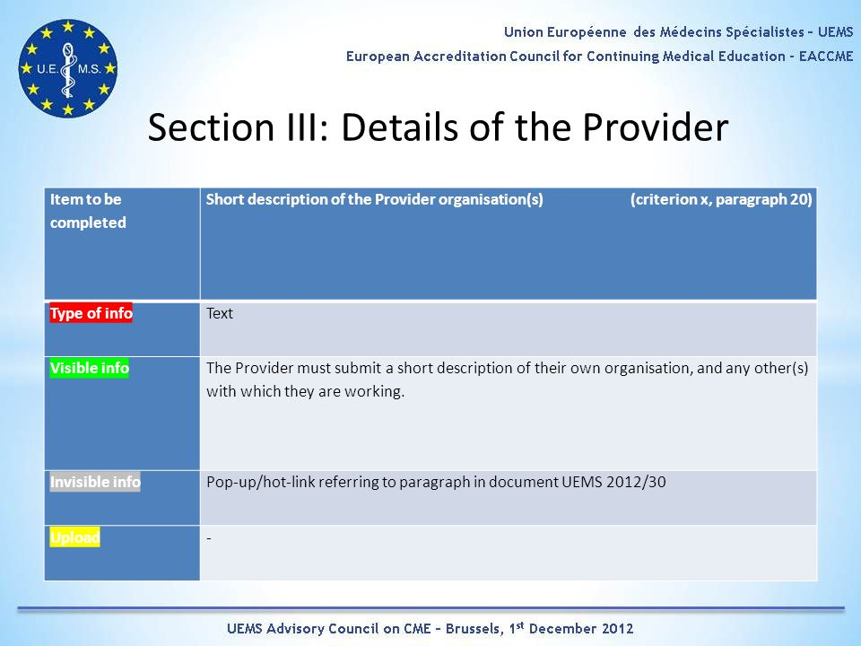Section III: Details of the Provider Item to be completed Short description of the Provider organisation(s) (criterion x, paragraph 20) Type of infoText Visible info The Provider must submit a short description of their own organisation, and any other(s) with which they are working.