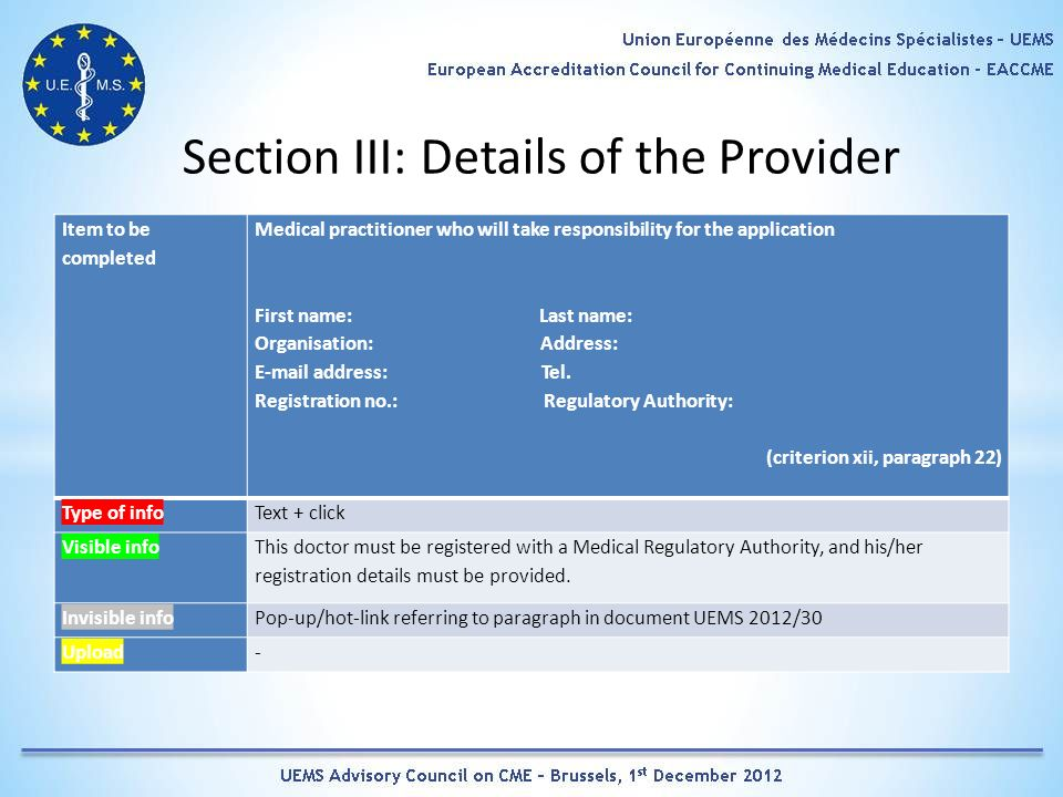 Section III: Details of the Provider Item to be completed Medical practitioner who will take responsibility for the application First name: Last name: Organisation: Address: E-mail address: Tel.