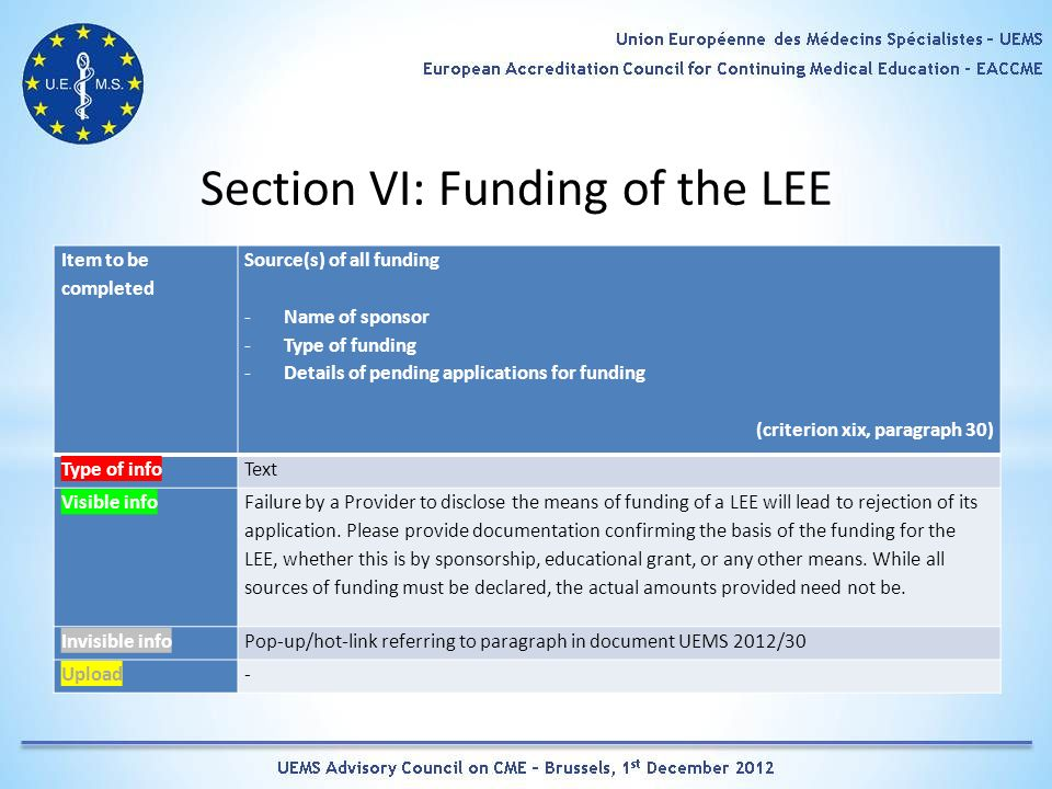 Section VI: Funding of the LEE Item to be completed Source(s) of all funding -Name of sponsor -Type of funding -Details of pending applications for funding (criterion xix, paragraph 30) Type of infoText Visible info Failure by a Provider to disclose the means of funding of a LEE will lead to rejection of its application.