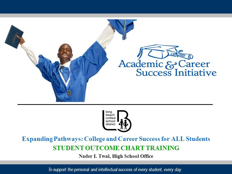 To support the personal and intellectual success of every student, every day. Expanding Pathways: College and Career Success for ALL Students STUDENT