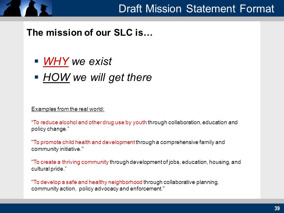 39 Draft Mission Statement Format The mission of our SLC is… WHY we exist HOW we will get there Examples from the real world: To reduce alcohol and other drug use by youth through collaboration, education and policy change.