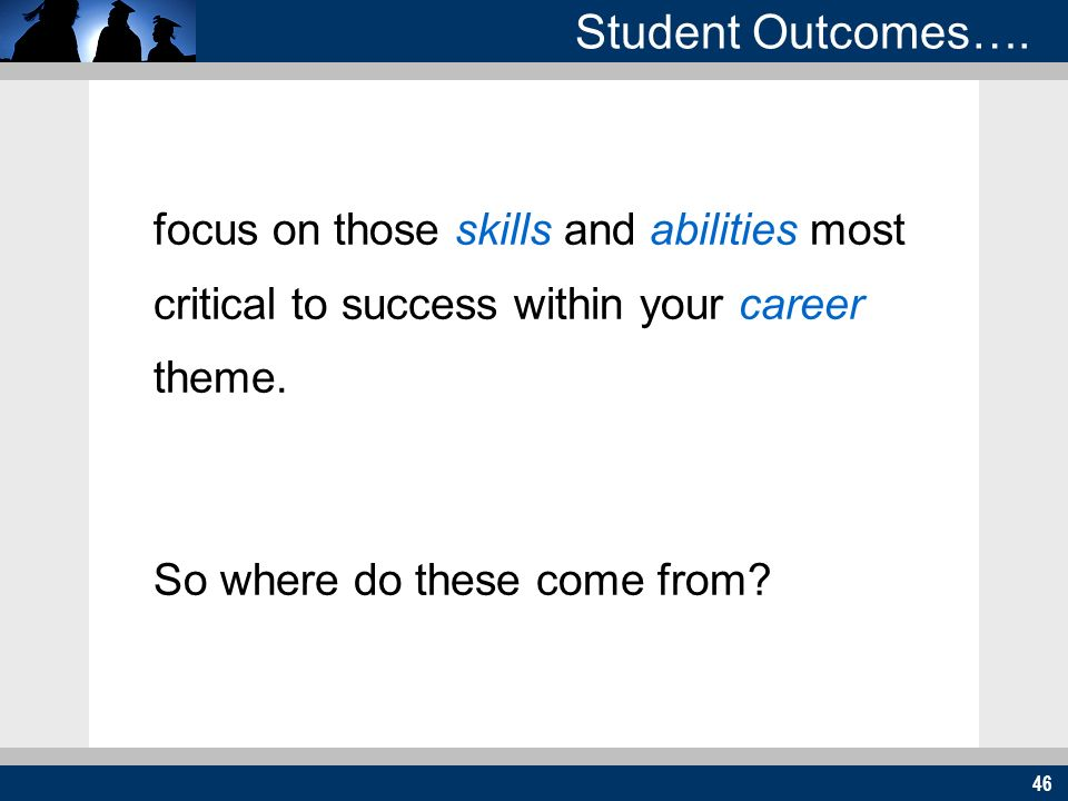 46 (see samples) Student Outcomes….