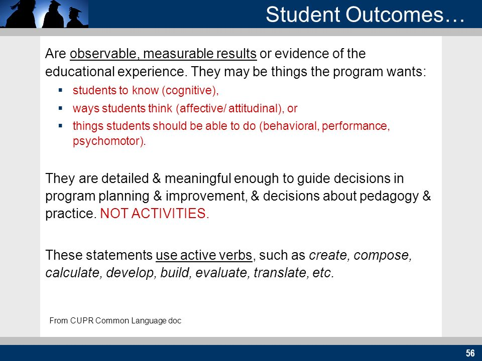 56 Student Outcomes… Are observable, measurable results or evidence of the educational experience. They may be things the program wants: students to k