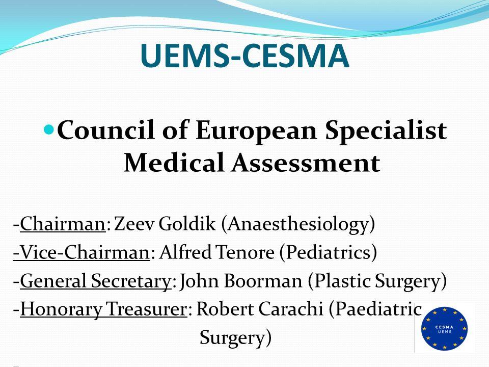 UEMS-CESMA Council of European Specialist Medical Assessment -Chairman: Zeev Goldik (Anaesthesiology) -Vice-Chairman: Alfred Tenore (Pediatrics) -Gene