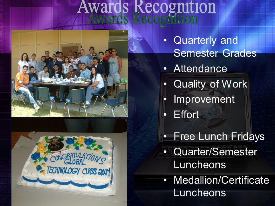 Quarterly and Semester Grades Attendance Quality of Work Improvement Effort Free Lunch Fridays Quarter/Semester Luncheons Medallion/Certificate Luncheons