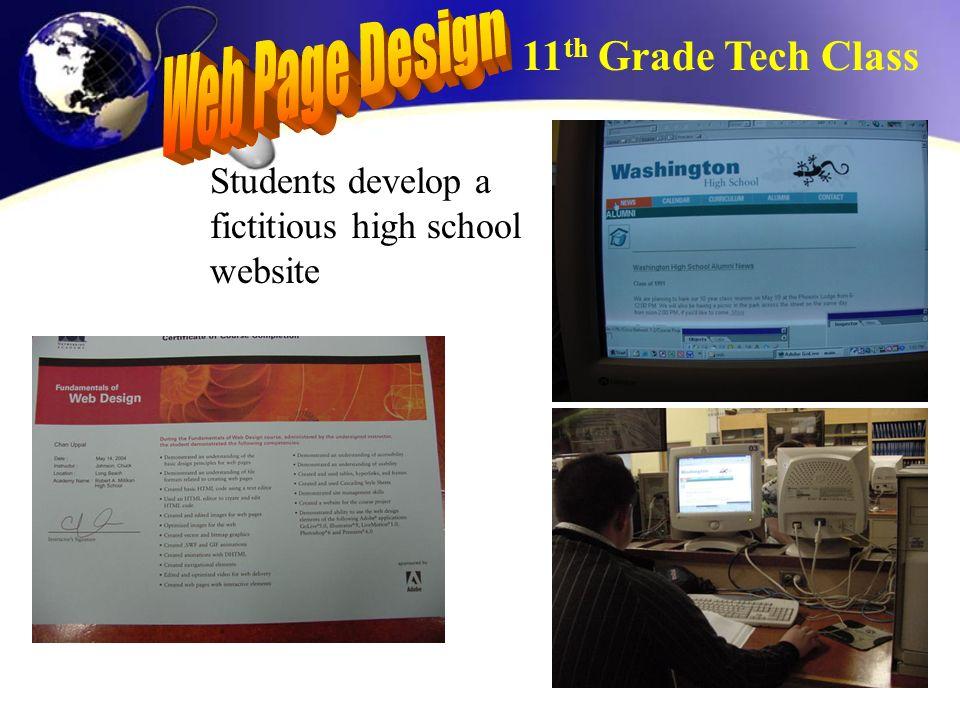 Students develop a fictitious high school website 11 th Grade Tech Class